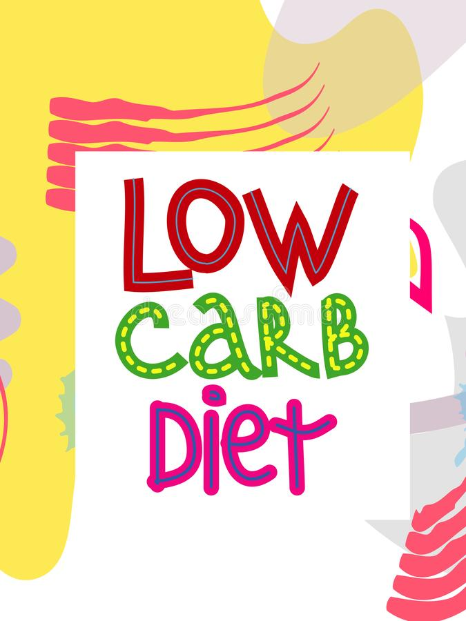 Low carb high fat white collage lettering. Keto diet flat hand drawn illustration. vector illustration