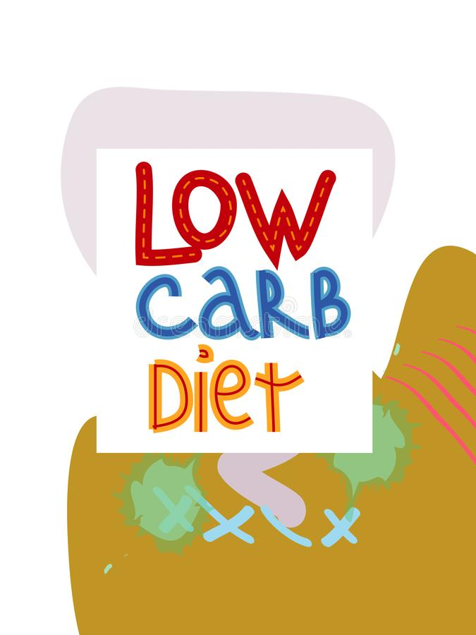 Low carb high fat white collage lettering. Keto diet flat hand drawn illustration vector illustration