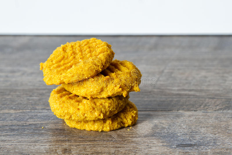 Low Carb Keto Pumpkin Butter Cookies. Ketogenic atkins pumpkin butter cookies for a low carb diet or gluten free diet royalty free stock photo