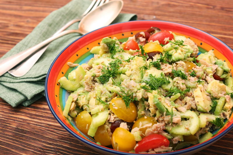 Low carbs Tuna Avocado Salad in glass bowl. royalty free stock images