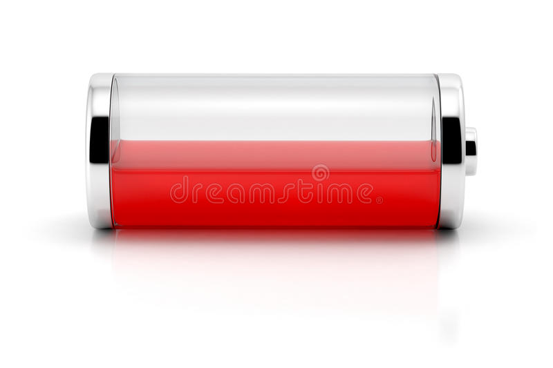Low charge level battery icon. Low charge level red battery icon isolated on white background royalty free stock photos