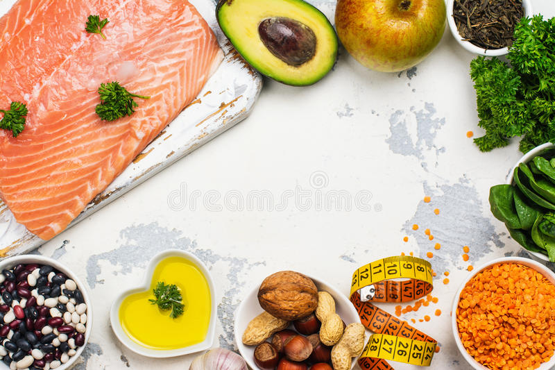 Low cholesterol food. Healthy heart nutrition. Space for text stock photo