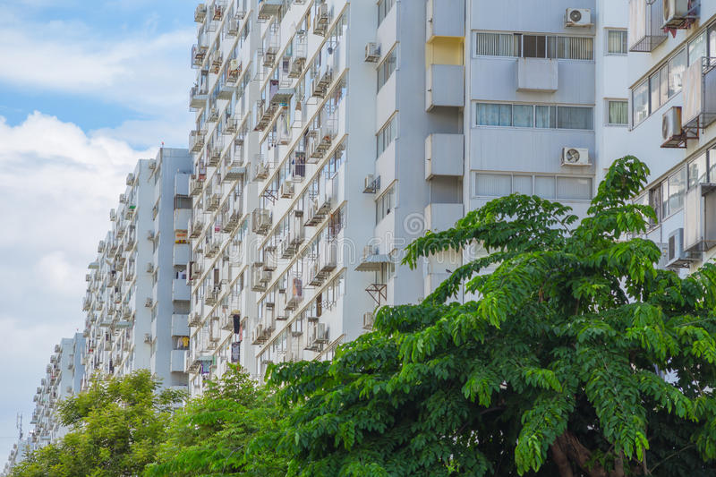 Low class cheap poor people apartment buildings. Exteriors stock image