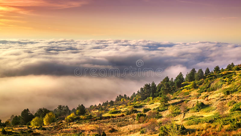 Low clouds on mountain Voras royalty free stock photos