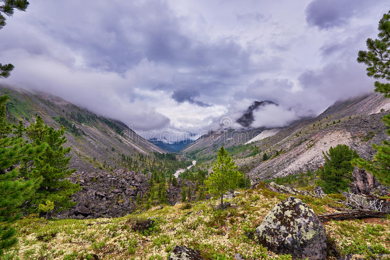 Low clouds over a mountain valley stock images