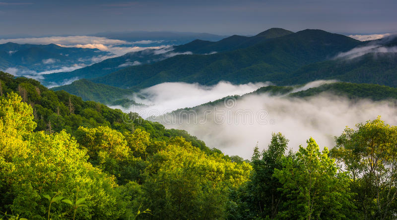 Low clouds in a valley, seen from Newfound Gap Road in Great Smoky Mountains National Park, North Carolina. royalty free stock images
