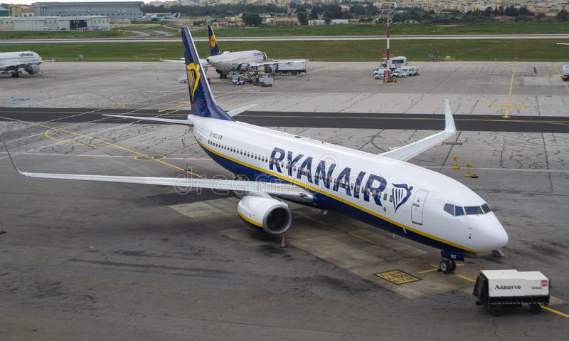 Low cost airline Ryanair boeing parked at International Malta Airport stock images
