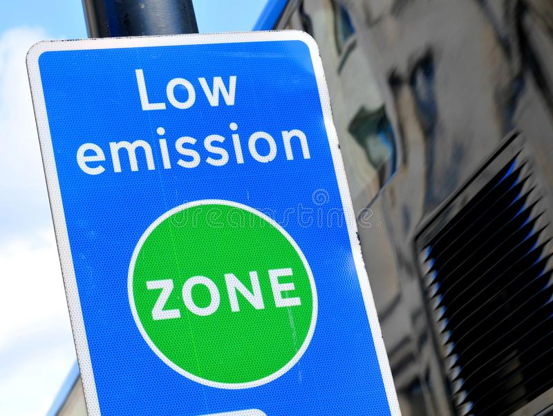 Low emission zone. Signpost in London stock photography