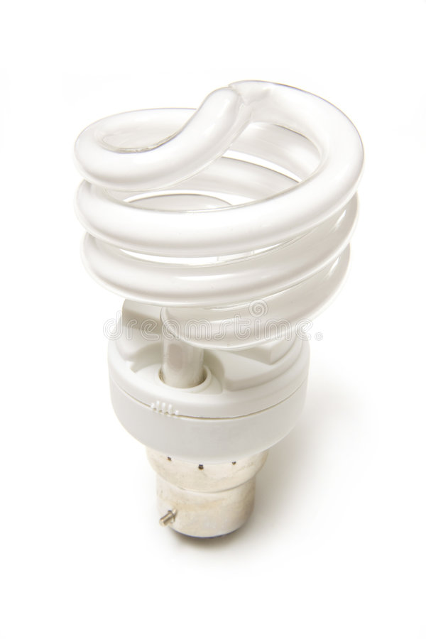 Low energy fluorescent bulb. A compact fluorescent light bulb or energy saving light. This is a spiral type integrated CFL stock images