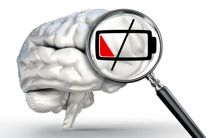 Low energy level on magnifying glass and human brain. On white background stock illustration