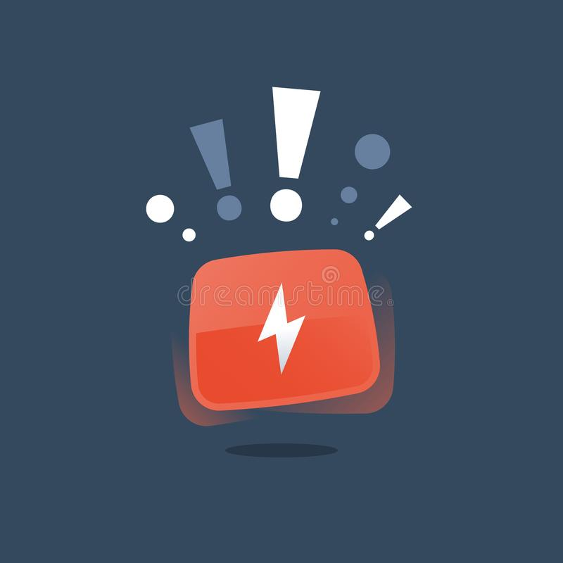 Low energy warning, replace battery red button, efficient system, charge accumulator, power outage, upgrade and maintenance. Replace battery red button, low royalty free illustration
