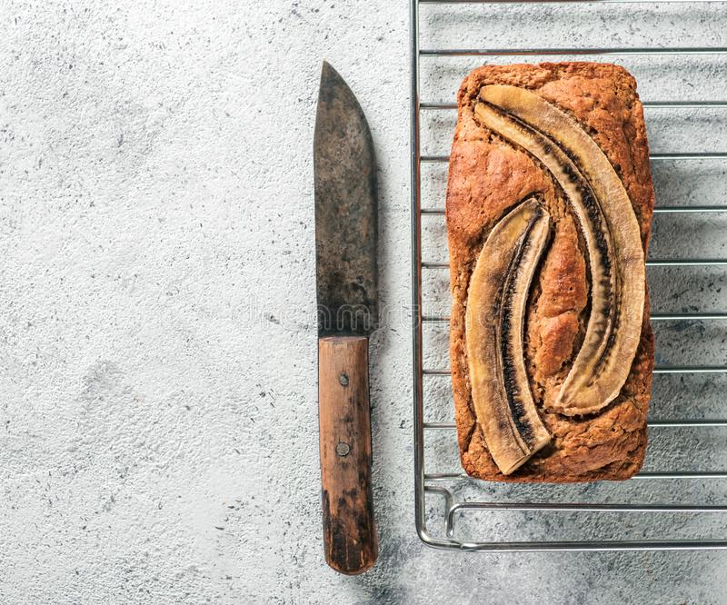Low-fat banana bread, copy space, top view royalty free stock image