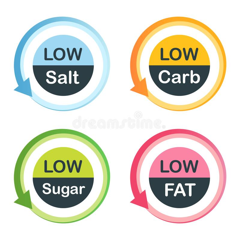 Free Low Fat Food Labels Stock Image - 194625231