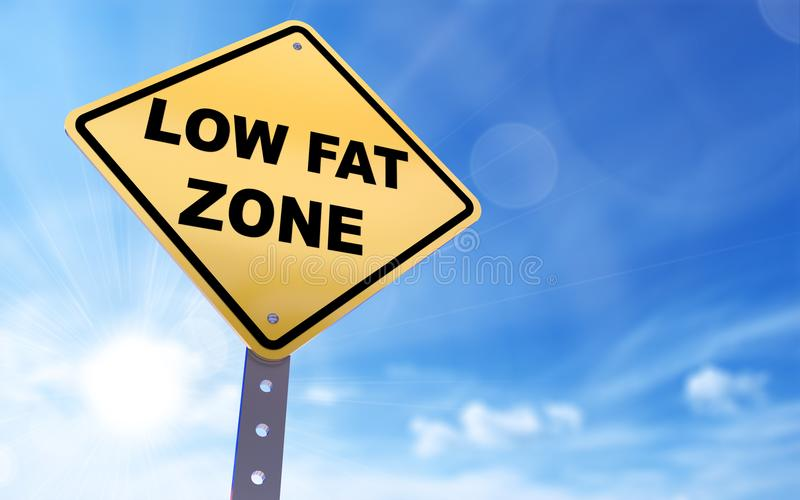 Low fat zone sign. On blue sky background,3d rendered royalty free illustration