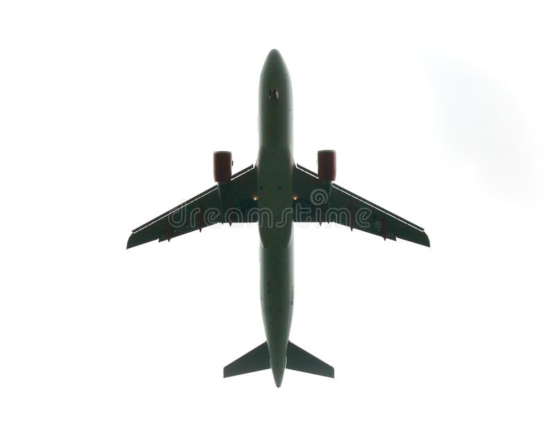 Low flying airplane royalty free stock photography