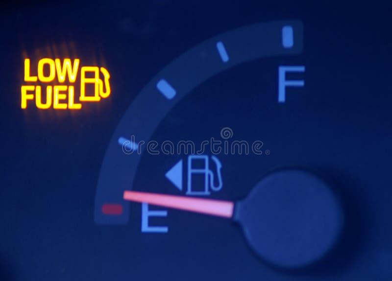 Low Fuel. A car's gas gauge showing low on fuel