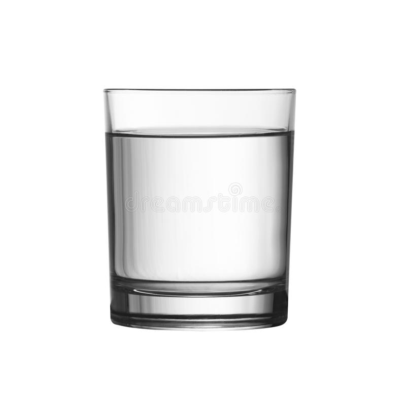 Low full of water glass isolated on white with clipping path royalty free stock images