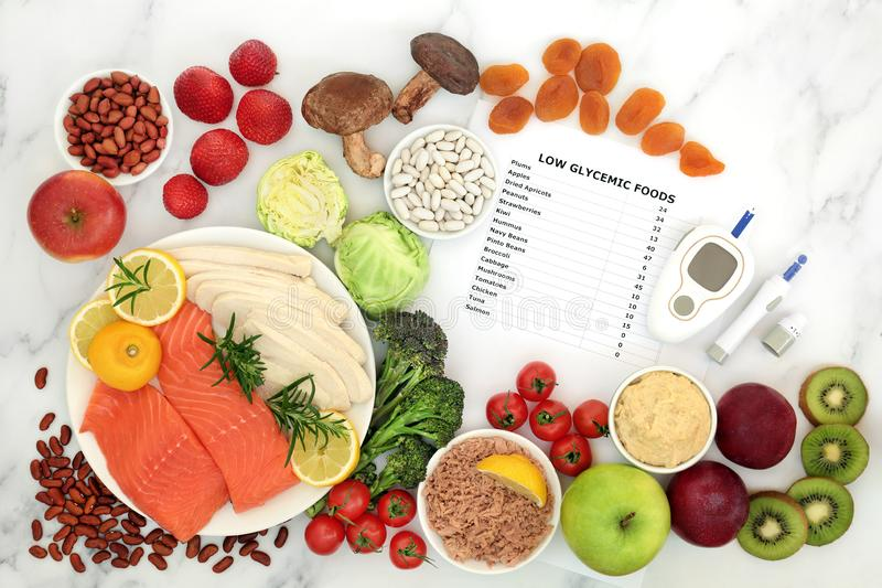 Low GI Diet Food with Blood Sugar Testing Equipment. Low glycemic food for diabetics with blood sugar testing equipment & lancing device. Health foods below 55 royalty free stock images