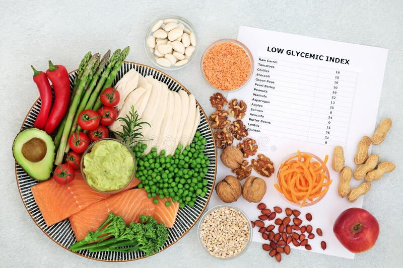 Low GI Diet Health Food for Diabetics royalty free stock images
