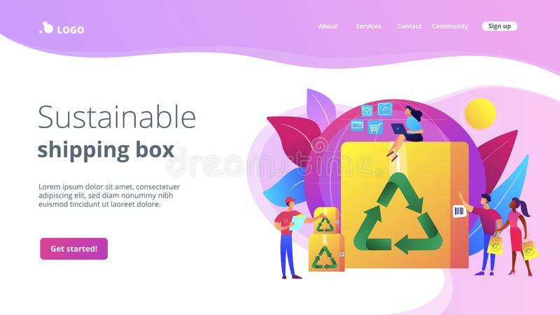 Low impact packaging concept landing page. Eco friendly and recyclable container. Low impact packaging, sustainable shipping box, innovative packaging materials vector illustration