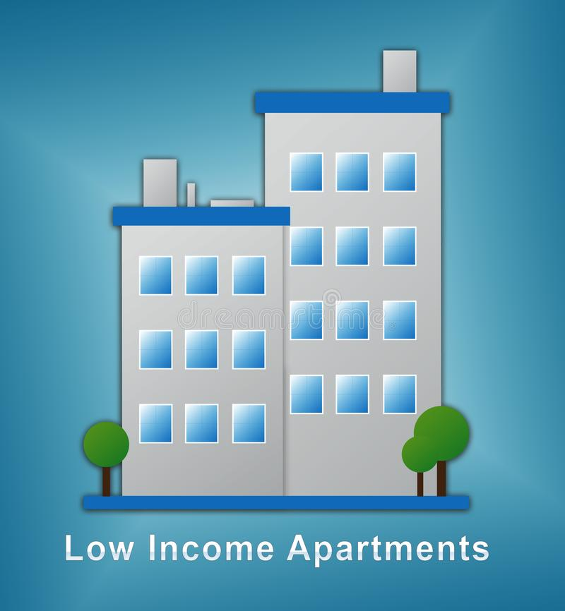 Low Income Apartments And Condos Building Demonstrating High Rise Real Estate - 3d Illustration. Low Income Apartments And Condos Building Demonstrating High vector illustration