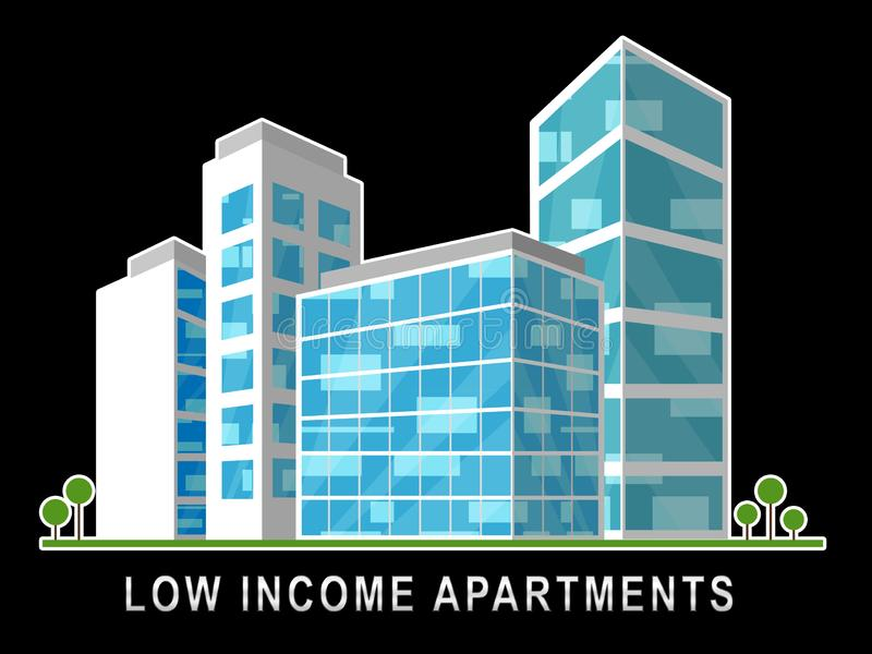 Low Income Apartments And Condos Building Demonstrating High Rise Real Estate - 3d Illustration. Low Income Apartments And Condos Building Demonstrating High royalty free illustration