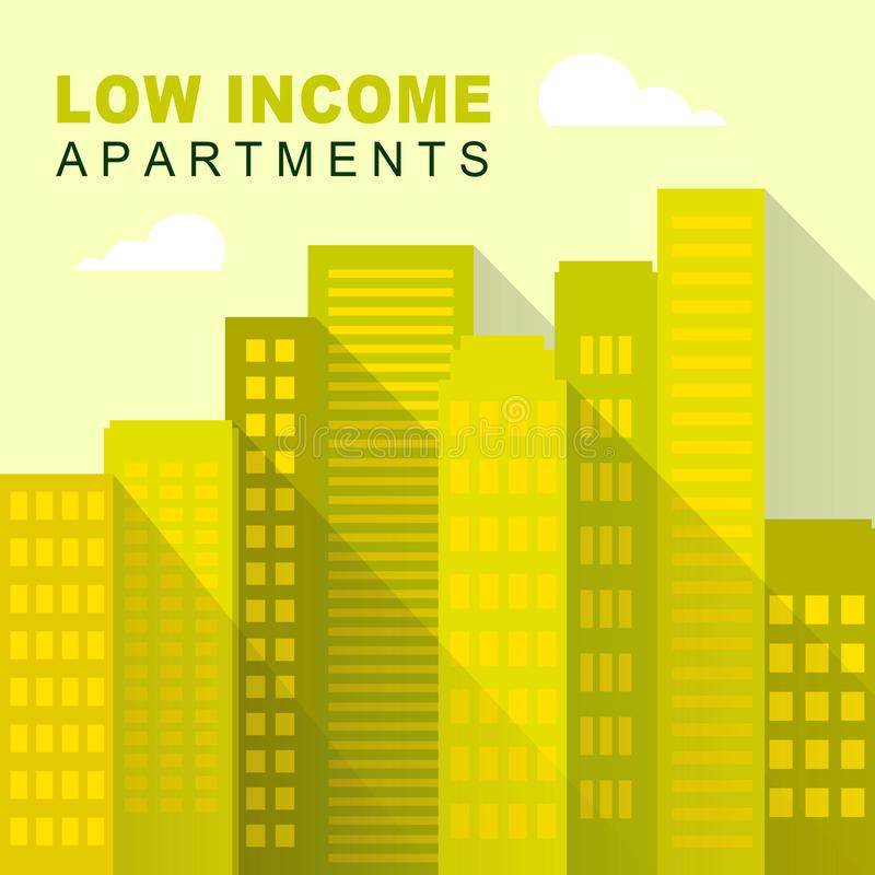 Low Income Apartments And Condos Cityscape Demonstrating High Rise Real Estate - 3d Illustration. Low Income Apartments And Condos Cityscape Demonstrating High stock illustration