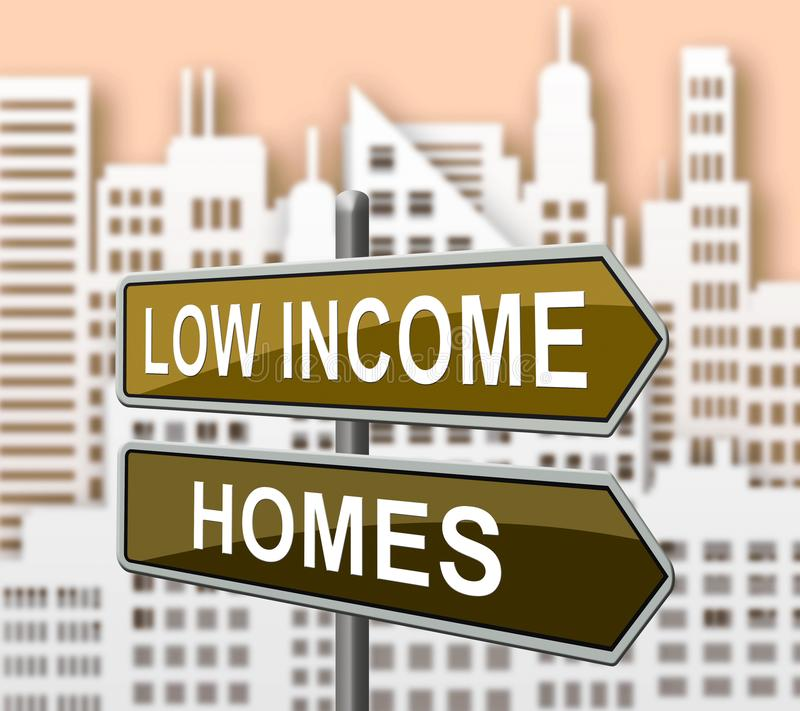 Low Income Home Or House Cityscape Meaning Cheap Housing - 3d Illustration. Low Income Home Or House Cityscape Meaning Cheap Housing. Budget Accomodation For stock illustration