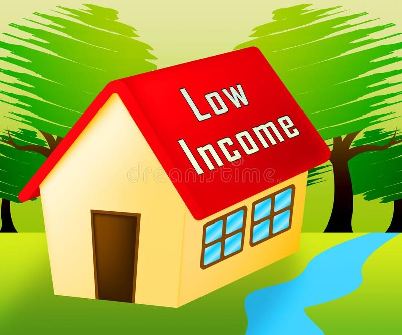 Low Income Homes And Houses Icon For Poverty Stricken Renters And Buyers - 3d Illustration. Low Income Homes And Houses Icon For Poverty Stricken Renters And stock illustration
