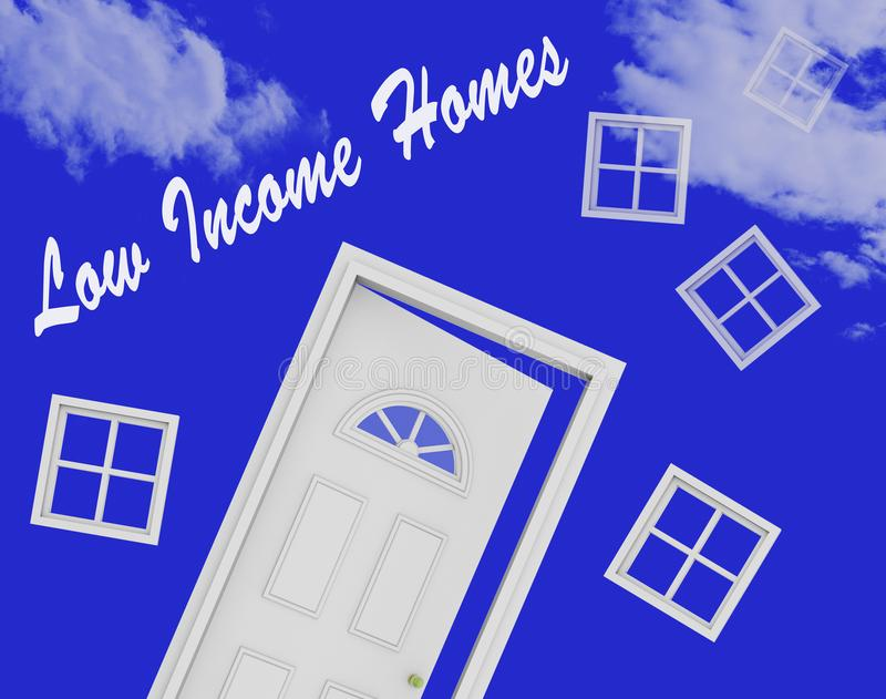 Low Income Homes And Houses For Poverty Stricken Renters And Buyers - 3d Illustration. Low Income Homes And Houses For Poverty Stricken Renters And Buyers royalty free illustration