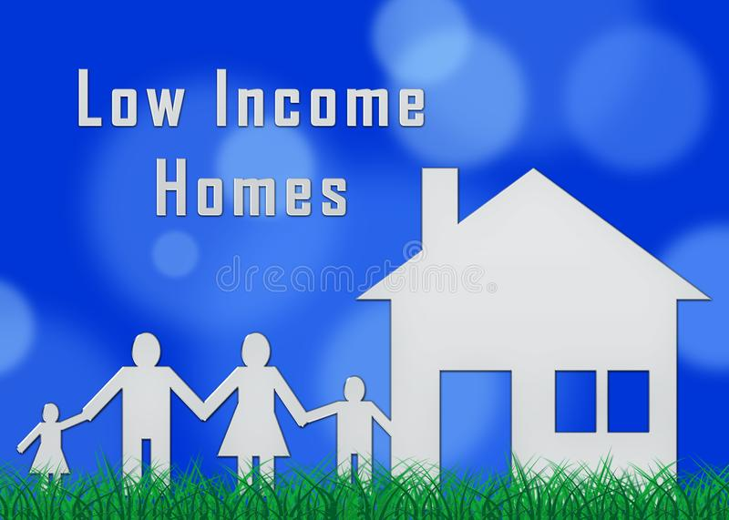 Low Income Homes And Houses For Poverty Stricken Renters And Buyers - 3d Illustration. Low Income Homes And Houses For Poverty Stricken Renters And Buyers vector illustration
