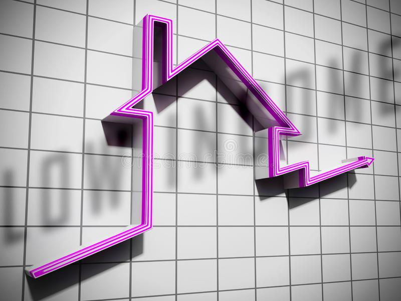 Low Income Homes And Houses Symbol For Poverty Stricken Renters And Buyers - 3d Illustration. Low Income Homes And Houses Symbol For Poverty Stricken Renters And stock illustration