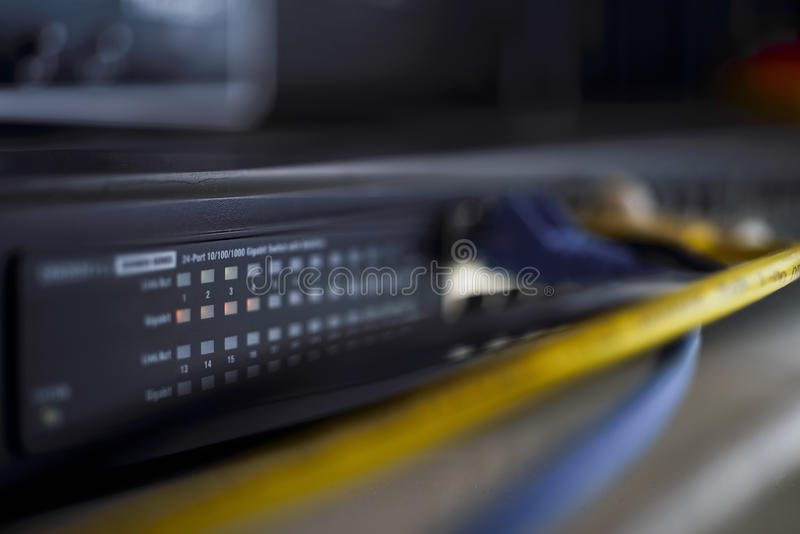 Low key of a close up datacenter switch royalty free stock image