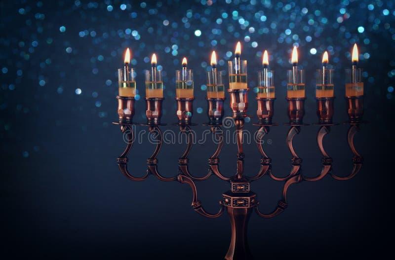 Low key Image of jewish holiday Hanukkah background stock photos