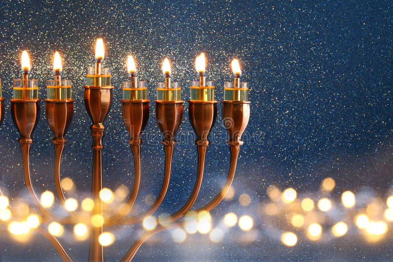 Low key Image of jewish holiday Hanukkah background royalty free stock photo