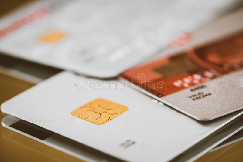 Low key macro shot with credit card. royalty free stock images