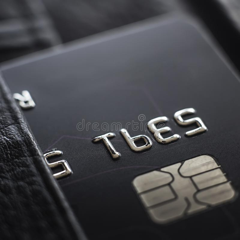 Macro shot with old credit card. stock image