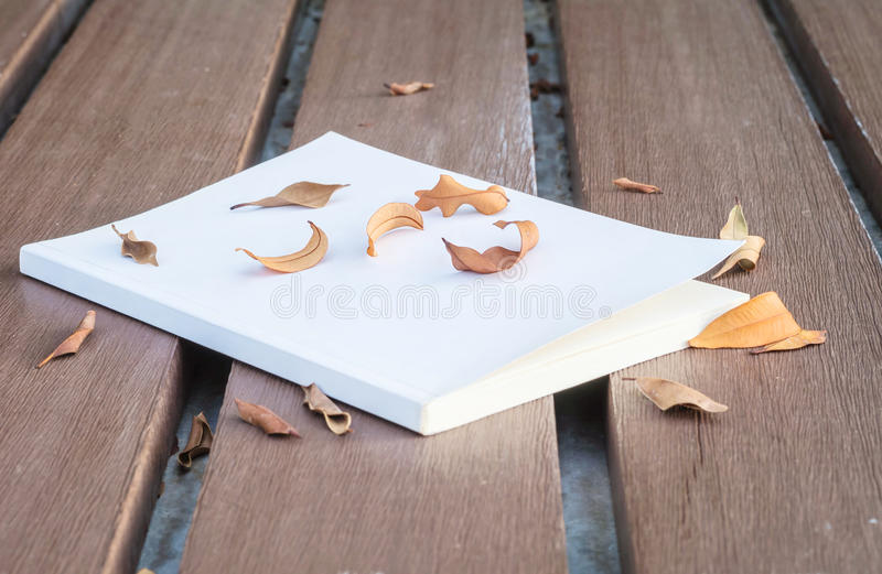 Low key photo of old white book on wooden table with dried leaves with dark tone and selection focus. Low key photo of white book on wooden table with dried stock photos