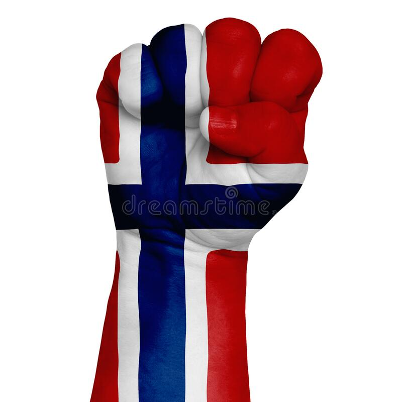 Low key picture of a fist painted in colors of norway flag. Image on a white background. Isolate stock photo
