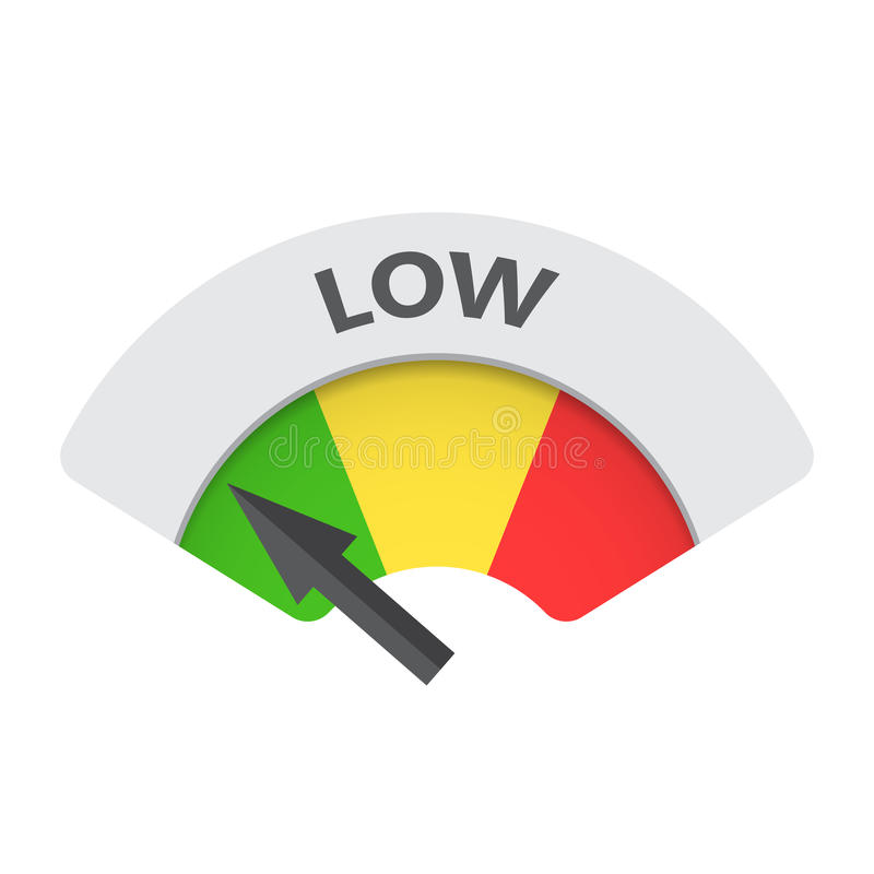 low level risk gauge vector icon stock vector
