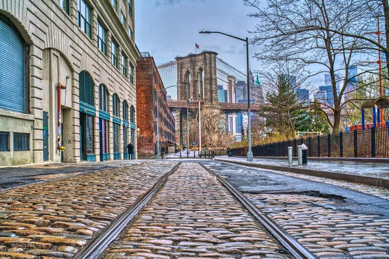 Rail tracks Brooklyn NYC close vanishing point stock photos