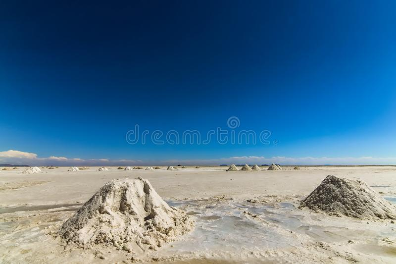 Low perspective view of the salt flats in Salar de Uyuni. Bolivia royalty free stock image