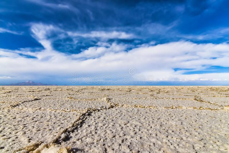 Low perspective view of the salt flats in Salar de Uyuni. Bolivia royalty free stock photo