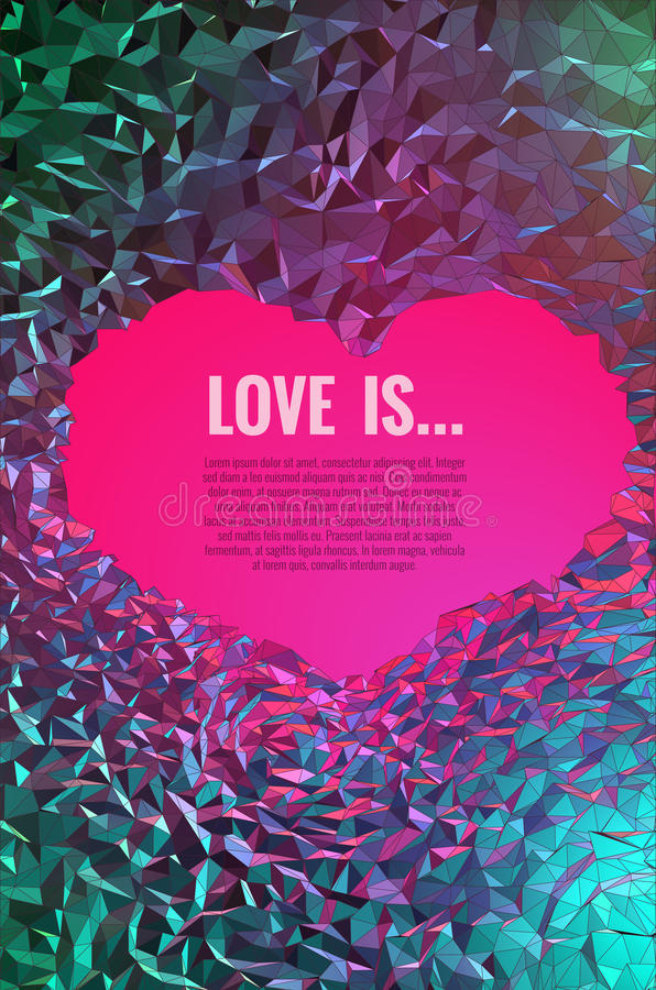 Low poly abstract art background about love. Low poly abstract art background light of love at the end of cave vector illustration