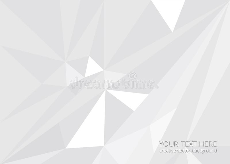 Low poly abstract background. Low poly white light-grey abstract background, polygonal shapes background triangles mosaic, for web and print, crystals backdrop vector illustration