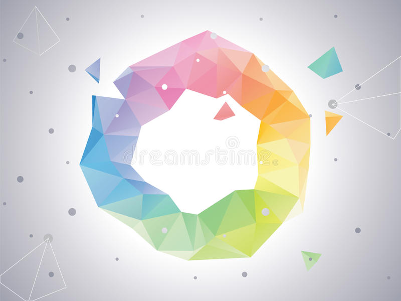 Low-poly Abstract Color Circle stock illustration