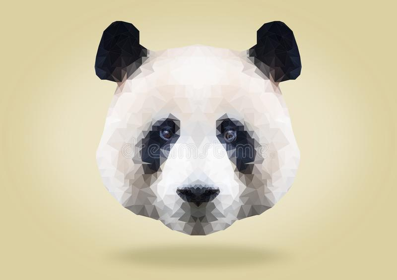 Low poly abstract portrait of a cute giant Panda on yellow background . low polygon royalty free illustration