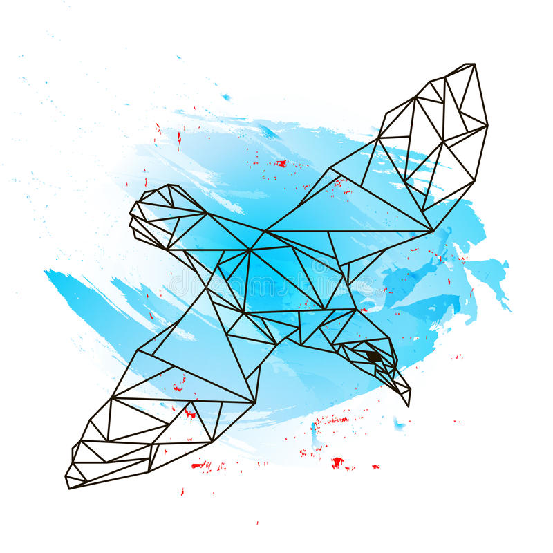 Low poly albatross on blue watercolor stock image