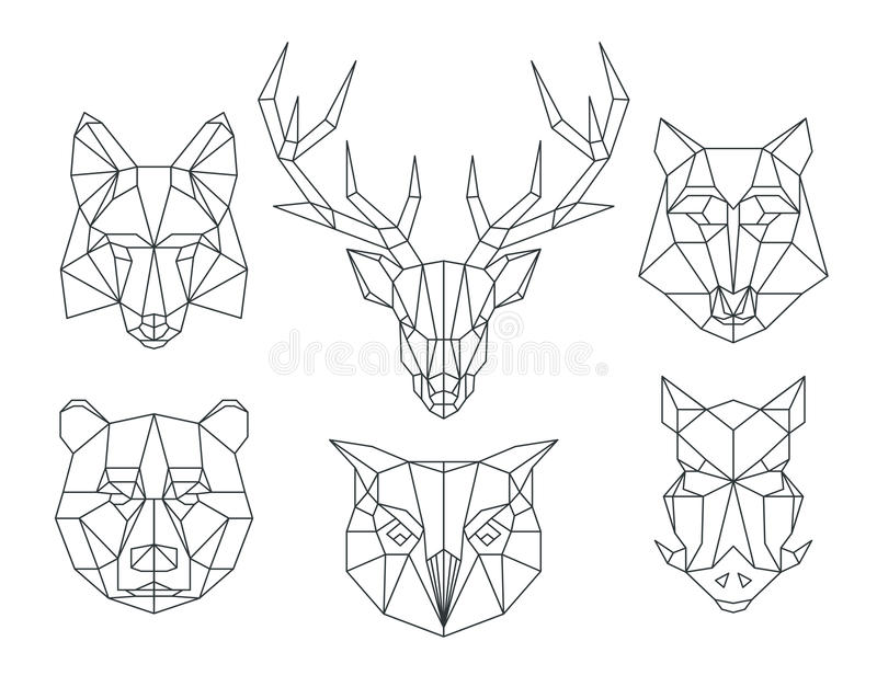 low poly animals heads triangular thin line vector set