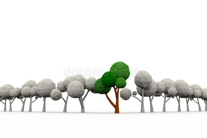 Low-poly avenue of trees. 3d illustration stock illustration